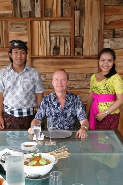 Julian Lees enjoys an Indonesian meal